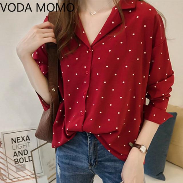 2020 summer Women Tops Casual V-Neck Long Sleeves Blouses Spring Summer Chiffon Polka Dots Shirt womens tops and blouses 1