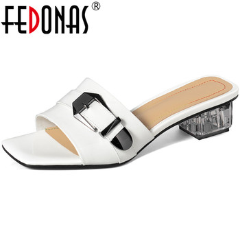 FEDONAS  Summer Genuine Leather Female Slippers Metal Decoration Thick Heels Sandals For Girls Casual Basic House Shoes Woman