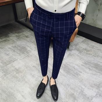 Pantalon Clasico Hombre Plaid Suits Trousers Mens Wedding Pants Red Men Office Pants Green Black Business Pants Slim Fit фото