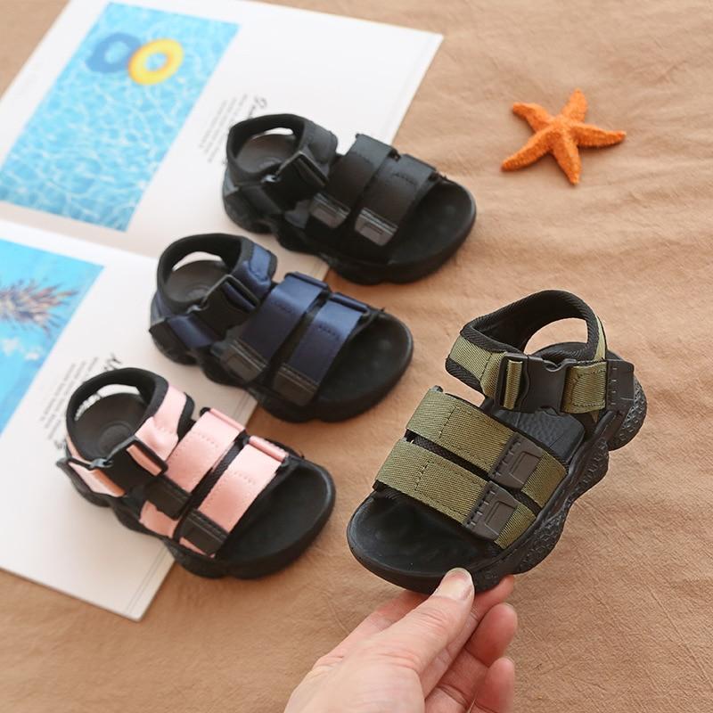 Anne ve Çocuk'ten Sandaletler'de Bebek ayakkabısı bebek sandalet spor tarzı erkek ve kız sandalet yaz 2020 su ayakkabısı çocuk Boys slayt beyaz siyah boyutu 24  36 title=