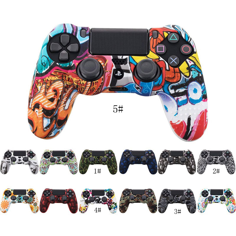 Protective Camouflage <font><b>Case</b></font> Graffiti Studded Dots Silicone Rubber Gel Skin for Sony Dualshock 4 <font><b>PS4</b></font> <font><b>Controller</b></font> Cover <font><b>Case</b></font> image