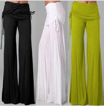 Women Long Flared Wide Leg Pants 2020 Summer Ladies Casual Loose Trousers Layers Fashion Solid Culottes Plus Size Xnxee