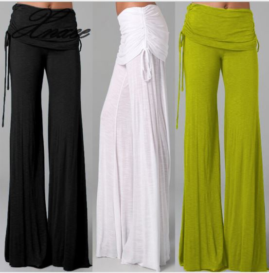 Women Long Flared   Wide     Leg     Pants   2019 Summer Ladies Casual Loose Trousers Layers Fashion Solid Culottes Plus Size Xnxee