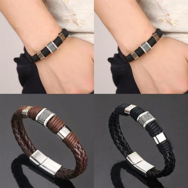 Men &Women Black/Coffee Braid Leather Cuff Bracelet Titanium Stainless Steel Bracelet Men Bangle Men Jewelry Valentine's Gift