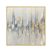 Handmade Grey Color and Thick Textured Gold Foil Abstract Oil Painting on Canvas Pop Fine Art Abstract Oil Canvas Painting(China)
