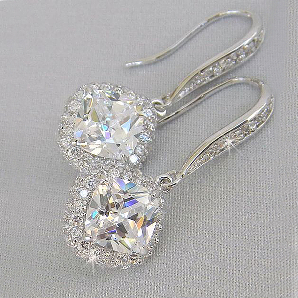 Huitan New Trendy Luxury Silver Color Square Drop Earring Wedding Bridal Accessories Shine Zircon Stone Elegant Women Jewelry(China)