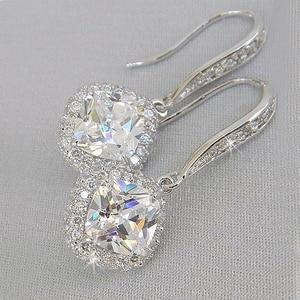 Huitan New Trendy Luxury Silver Color Square Drop Earring Wedding Bridal Accessories Shine Zircon Stone Elegant Women Jewelry