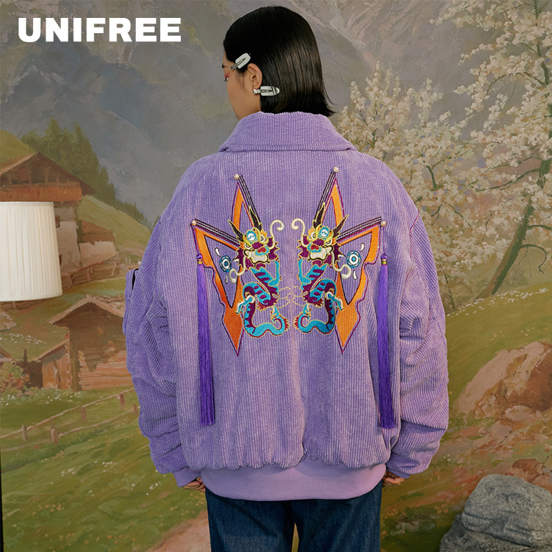 UNIFREE2020 New Fashion Leisure Simple Trend Printing Embroidery Cotton-padded Jacket U194O519EI