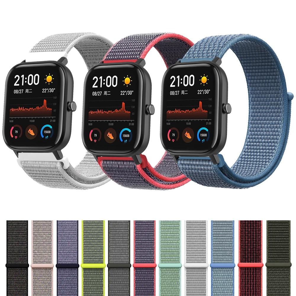 Wrist Strap For Xiaomi Huami Amazfit GTS Smart Watch Woven Nylon Loop Band Bracelet For Amazfit GTR 42mm/Bip Lite Watchband 20mm