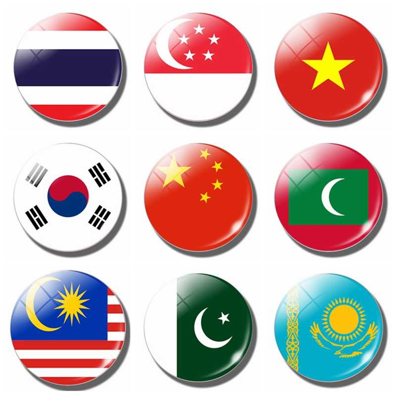 Azië Vlag Koelkast Magneet China Thailand Singapore India Malediven Glas Dome Magnetische Koelkast Stickers Note Holder Home Decor