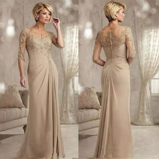 Champagne Lace Mermaid Mother Of the Birde Dresses with Appliques Sweep Train Chiffon Formal Evening Gowns Custom Made Gowns
