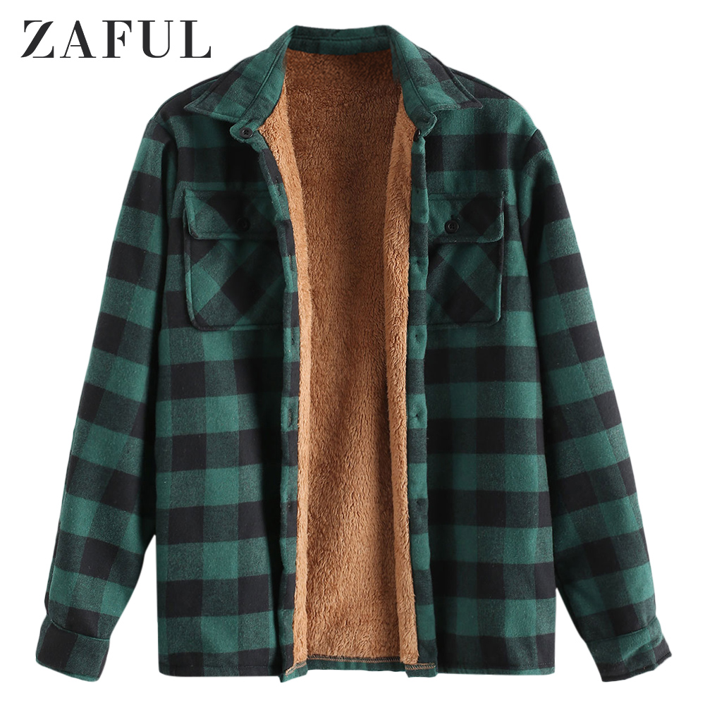 ZAFUL <font><b>Winter</b></font> <font><b>Men</b></font> Chest Pocket Plaid Plush Jacket <font><b>Shirts</b></font> Long Sleeve Striped Plaid Print Blouse Plush Button Plaid Jacket Outdoor image