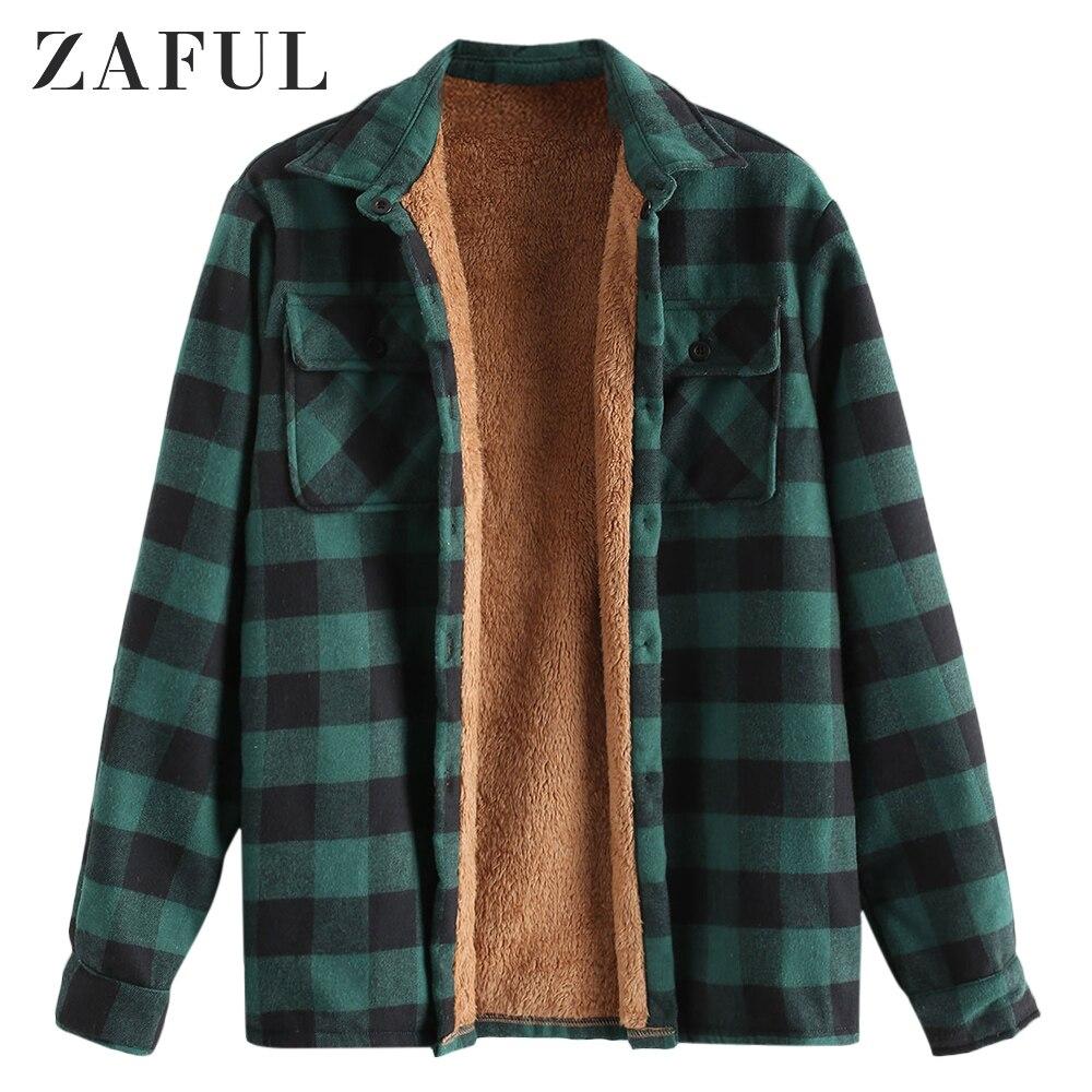 ZAFUL/зимняя мужская рубашка с нагрудным карманом, клетчатая плюшевая куртка, рубашка с длинным рукавом, полосатая Клетчатая блуза с принтом, плюшевая клетчатая куртка на пуговицах для улицы|Куртки|   | АлиЭкспресс