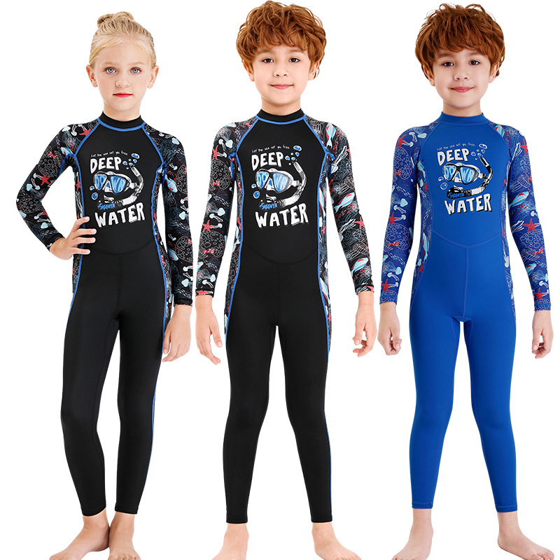 2020 New Style KID'S Swimwear Men's One-piece Diving Suit Long Sleeve Swimwear Women's Snorkeling Sun-resistant Quick-Dry Hot Sp