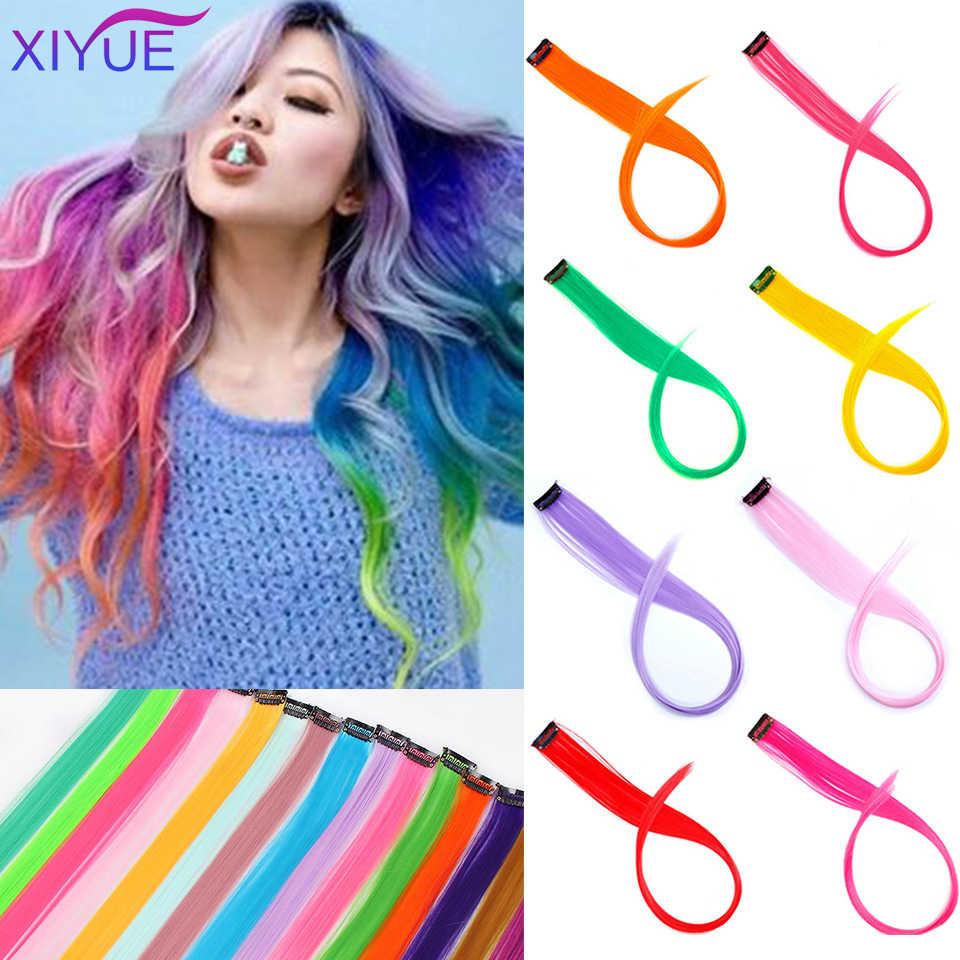 22 inç renkli sentetik saç uzantıları uzun düz bir klip tek parça şeritler gökkuşağı vurgulamak postiş kadınlar için