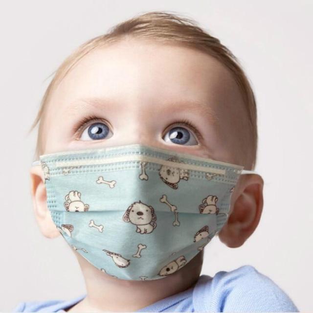 100PCS/lot 3 layer Disposable Elastic Child Mouth mask Soft Breathable Flu Hygiene Kids Face masks anti dust mask