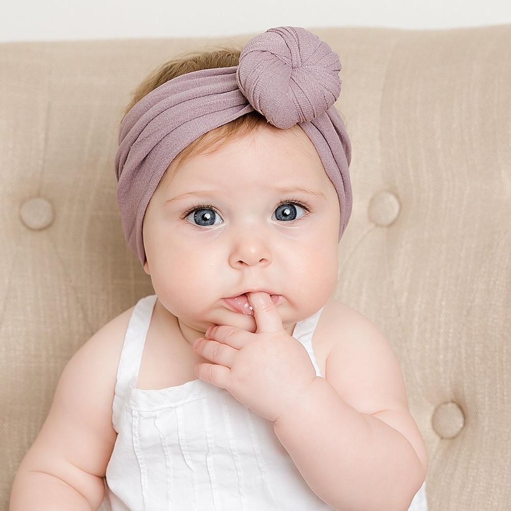 Новинка, 1 шт., однотонная Детская повязка с бантом для маленьких девочек, вязанная хлопковая смесь, аксессуары для волос, Детские перекрестн...
