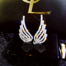 Luxus Elegante Feder Engel Flügel Silber Stud Ohrring für Weibliche Zirkonia Kristall Party Hochzeit Ohrringe