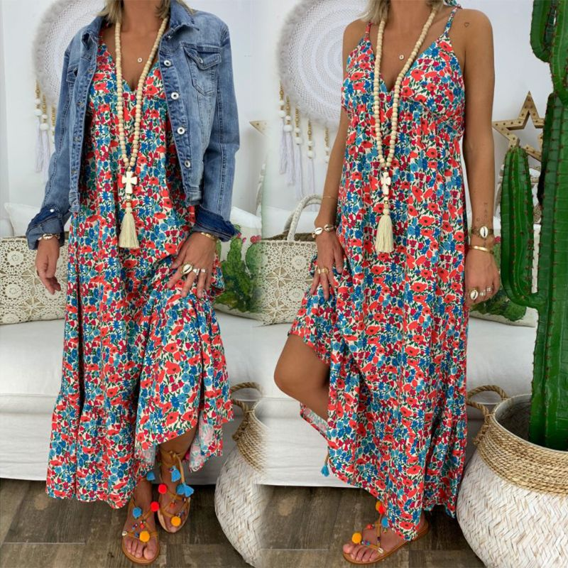 Womens Boho Floral Maxi Dress Party Strappy Summer Beach Holiday Spaghetti Strap Sundress Plus Size S M L XL 2XL 3XL 4XL 5XL(China)