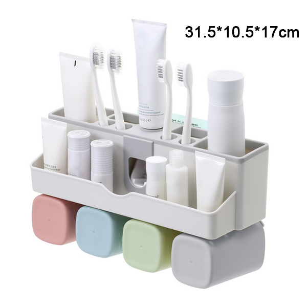 Large Capacity Toothbrush Holder Wall Mount Storage Rack with Automatic Toothpaste Dispenser Hogard image