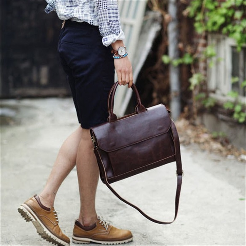 Men Briefcase Leather 14inch Laptop Bags Men Business Shoulder Bags For Male Office High Quality Men Briefcase Casual