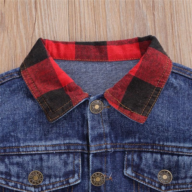 Купить blotona/детское осеннее пальто джинсовая куртка в клетку с длинными