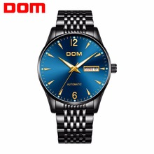 2020 new Mechanical Watch DOM Automatic Mens Watch Top Brand Luxury Steel belt Casual Leather Waterproof Watch Men cadisen men automatic mechanical watch top luxury brand seiko nh35a movement stainless steel 50m waterproof curved glass watch