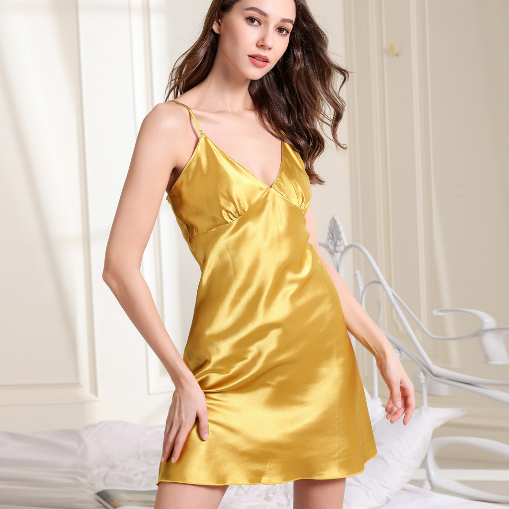 Faux Silk Deep V Night Dress Sexy Lingerie Nightgowns Women Slips Sleeveless Nightshirt Sexy Backless Sleepwear Nightie Homewear