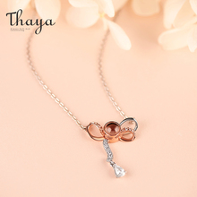 Thaya 925 Sterling Silver Lovers BowKnot Necklace Love You Projection Rose Gold Plated for Women Best Gift Her