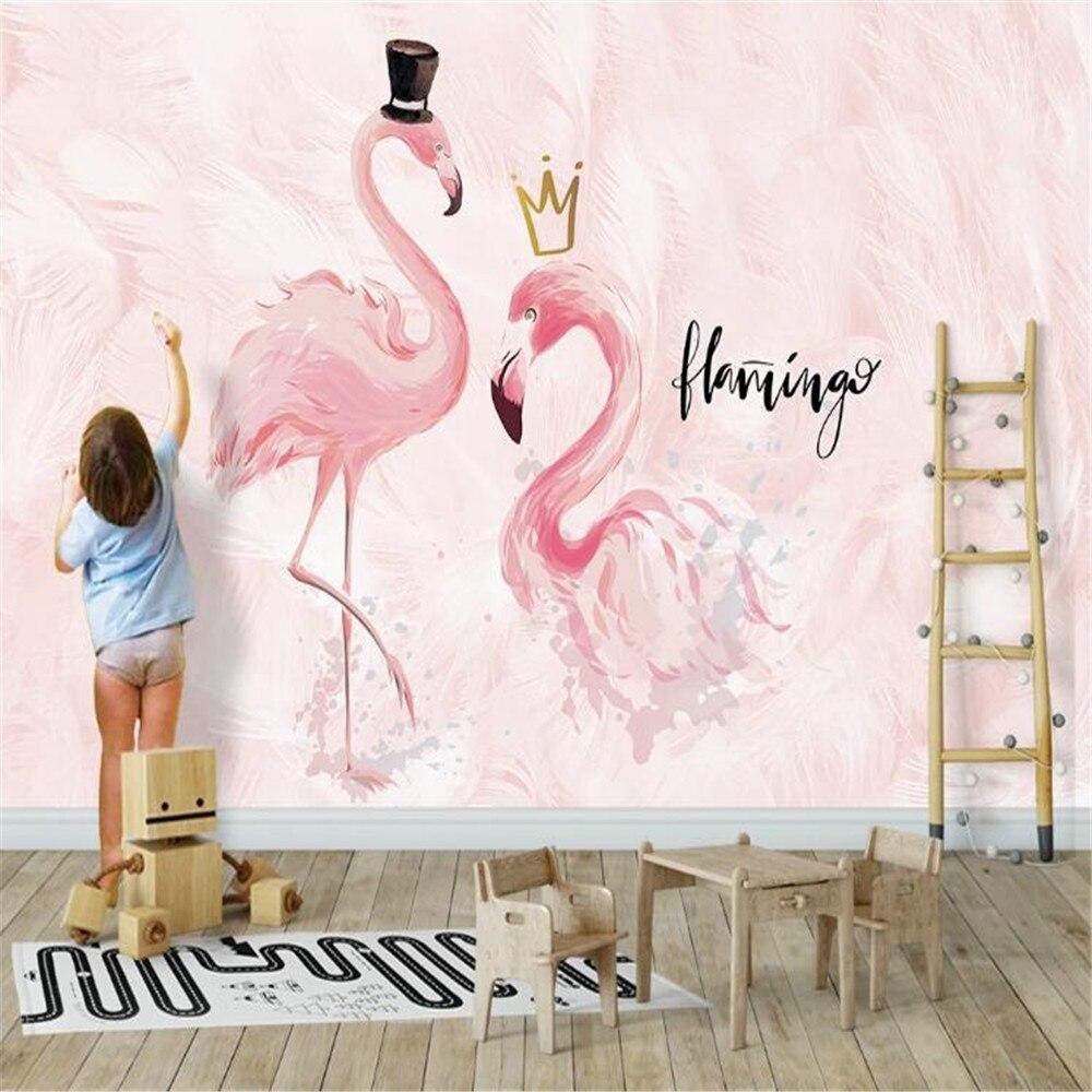 Milofi custom children's wallpaper mural wall paper Nordic ins pink couple flamingo children's room background wall