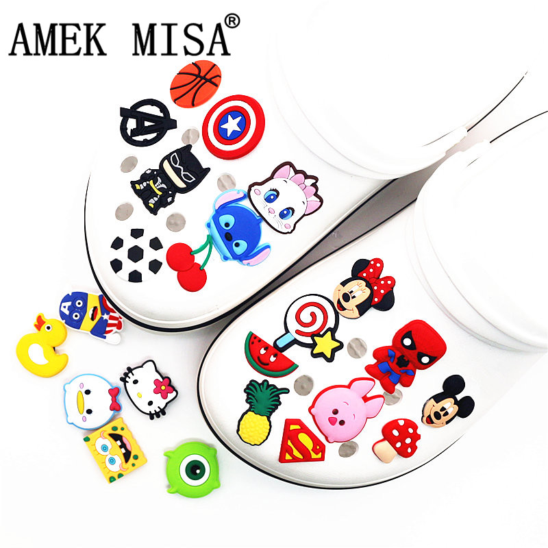 Single Sale 1pc PVC Shoe Charms Cartoon Mickey Minnie Lollipop Batman Shoe Buckle Decoration For Croc Jibz Kids Party X-mas Gift