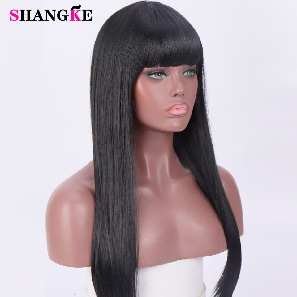 24 '' Long Straight Hair Black With Bangs Synthetic Wigs For Women Fashion Female Cosplay Party Christmas Wigs