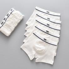 5pcs/pack Boys Underwear Pure White Color Short Boxers Teenage School Boys Panties Breathable Underpants for Kids Child Clothes