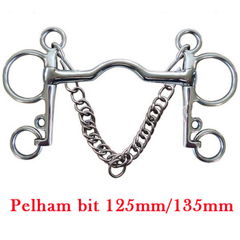 Equestrian Products Horse Bit Stainless Steel Pelham Bit With Hooks & Curb Chain Low port mouth image