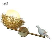 nordic Romantic parrot glass ball wall lamp for bedroom living room country loft decor wall sconces lighting fixtures led luster