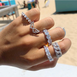 Rings Jewelry Promise-Ring Wedding-Band Cz-Stone Engagement 925-Sterling-Silver Women