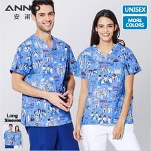 ANNO, короткие рукава, униформа медсестры, медицинская одежда, топ, штаны, хирургическое платье, скрабы для кормления, для женщин, мужчин, больничный костюм, набор
