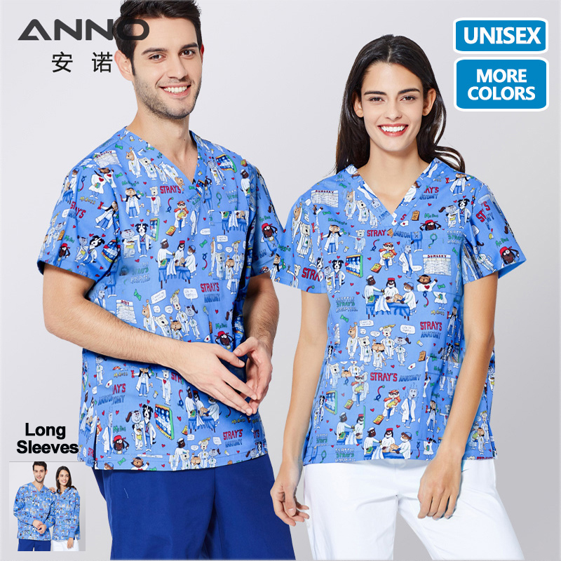 ANNO Short Sleeves Nurse Uniforms Medical Cloths Top Pant Surgical Gown Nursing Scrubs For Women Men Hospital Suit Set