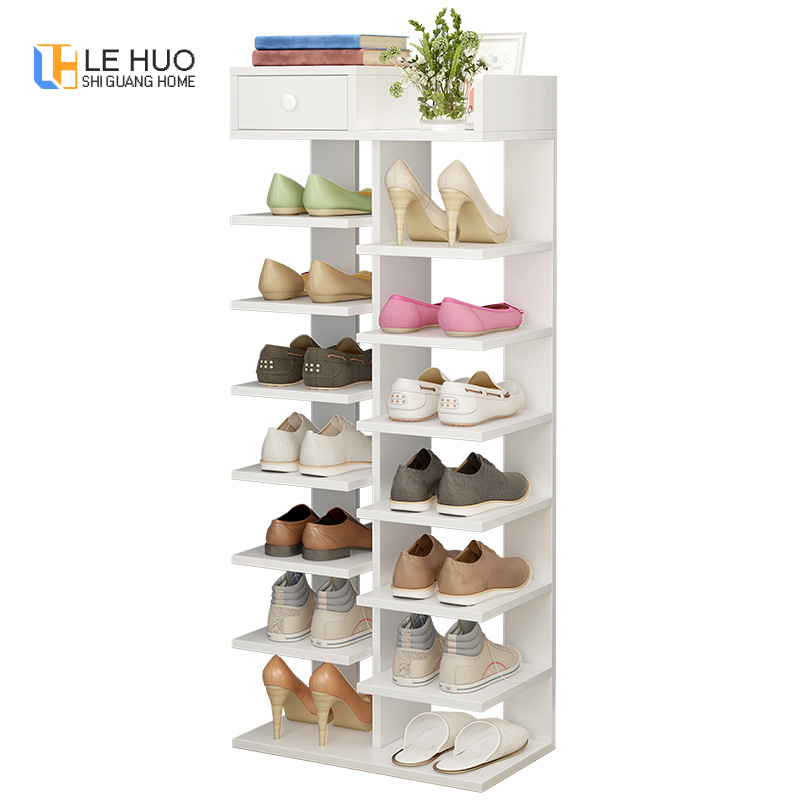 Double Row Shoe Cabinet Non-woven Wood Simple Shoe Rack Organizer Removable Shoe Storage for Minimalist Furniture with Drawers