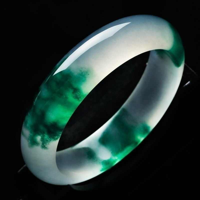 ธรรมชาติสีเขียวหยกสร้อยข้อมือกำไลข้อมือ Charm เครื่องประดับอัญมณีแฟชั่นอุปกรณ์เสริมมือแกะสลัก Amulet ของขวัญของเธอผู้ชาย
