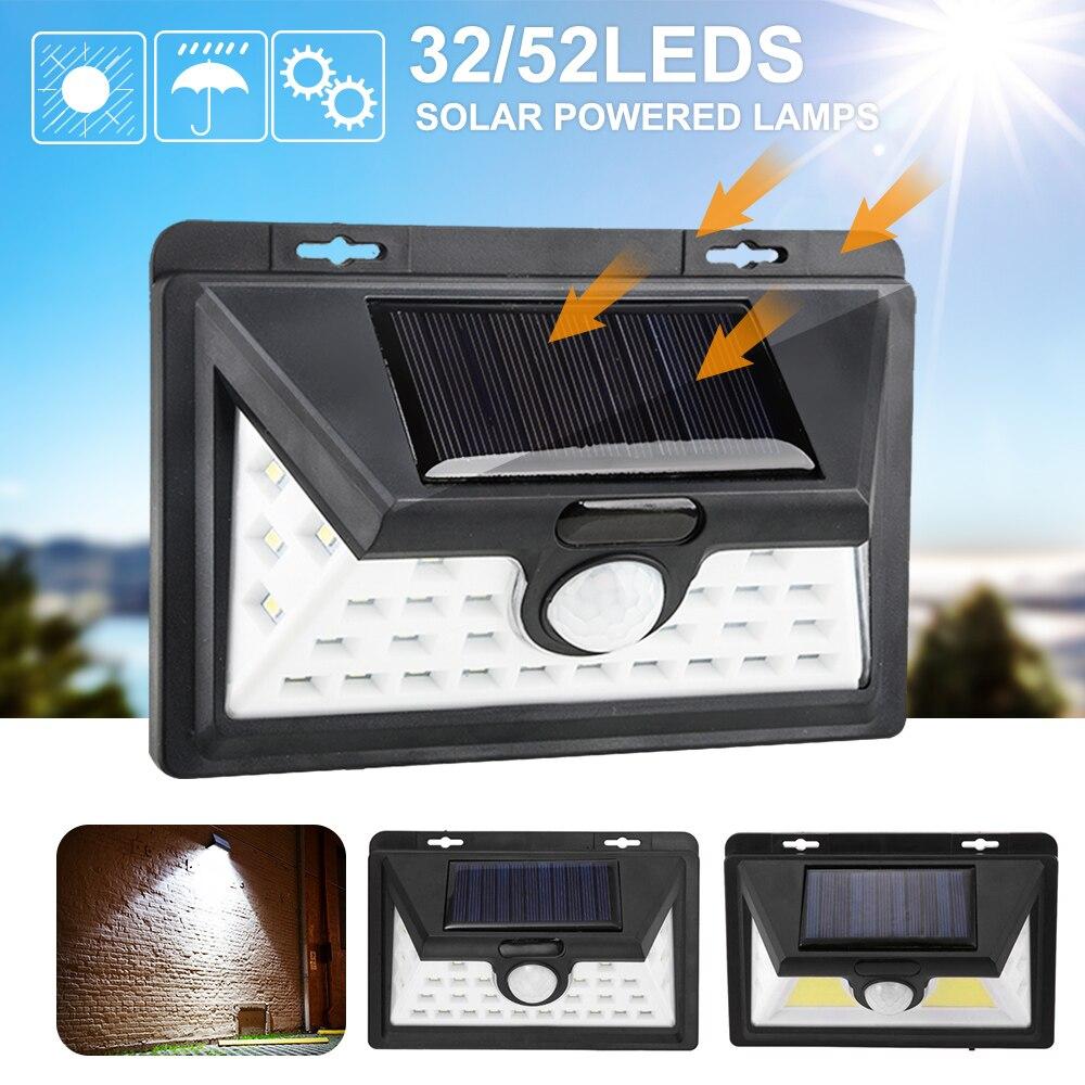 32//52 LED Solar Powered Lights Motion Sensor Garden Outdoor Security Wall Lamp