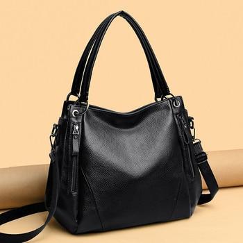 Quality Black Women Handbag Female Shoulder Bags Large Capacity good Genuine Cow Leather Casual Totes Bag Big Ladies Bucket Bags