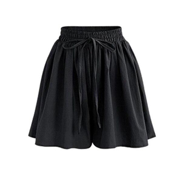 Women Cotton Linen Summer Shorts Plus Size 2020 Casual Elastic Waist Wide Leg Short Red