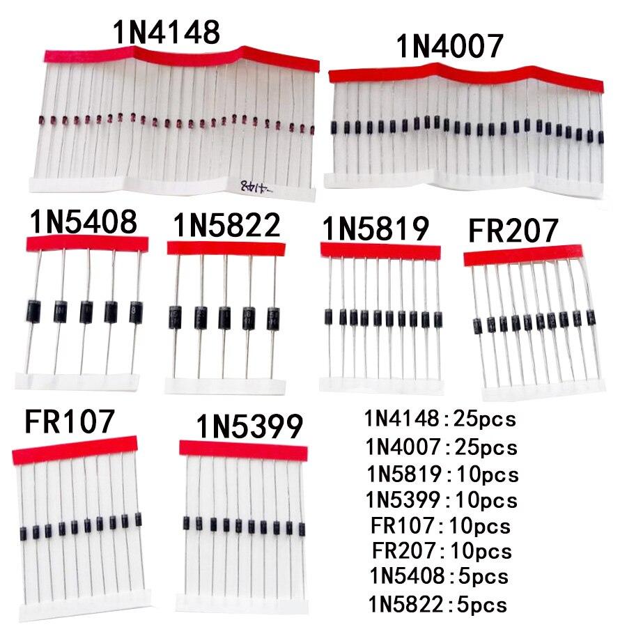 Набор диодов Schottky 1N4148/1N4007/1N5819/1N5399/1N5408/1N5822/FR107/FR207,8 видов = 100 шт., электронные компоненты, быстрая переключение