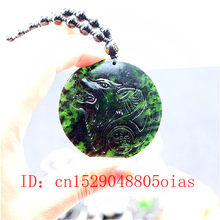 Chinese Natural Black Green Jade Wolf Pendant Beads Necklace Charm Jewelry Obsidian Accessories Carved Amulet Gifts for Men(China)