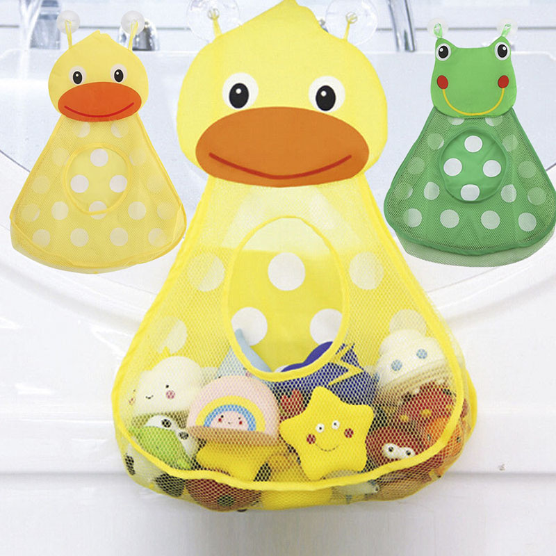 Baby Shower Bath Toys Bag Animal Duck Frog Storage Bag With Strong Suction Cup Baby Bathroom