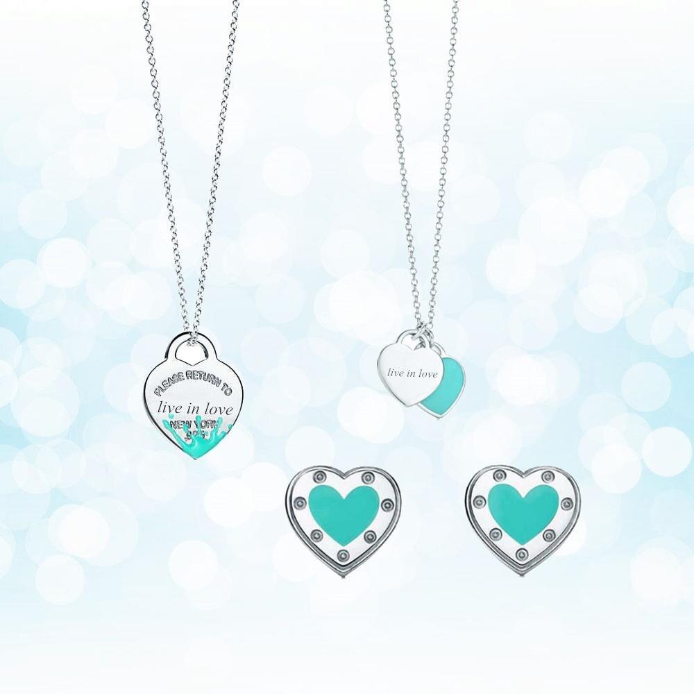 Plata de Ley 925 clásico popular original de moda en forma de corazón de tres piezas collar de mujer joyería