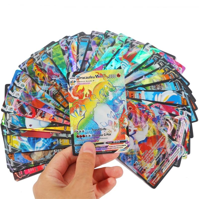 100 шт., Покемон, французские карты, карт, Покемон, франчеса, игрушки VMAX GX EX