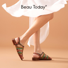 Gladiator Sandals Shoes Genuine-Leather Women Summer Buckle-Strap Narrow-Band Low-Heel