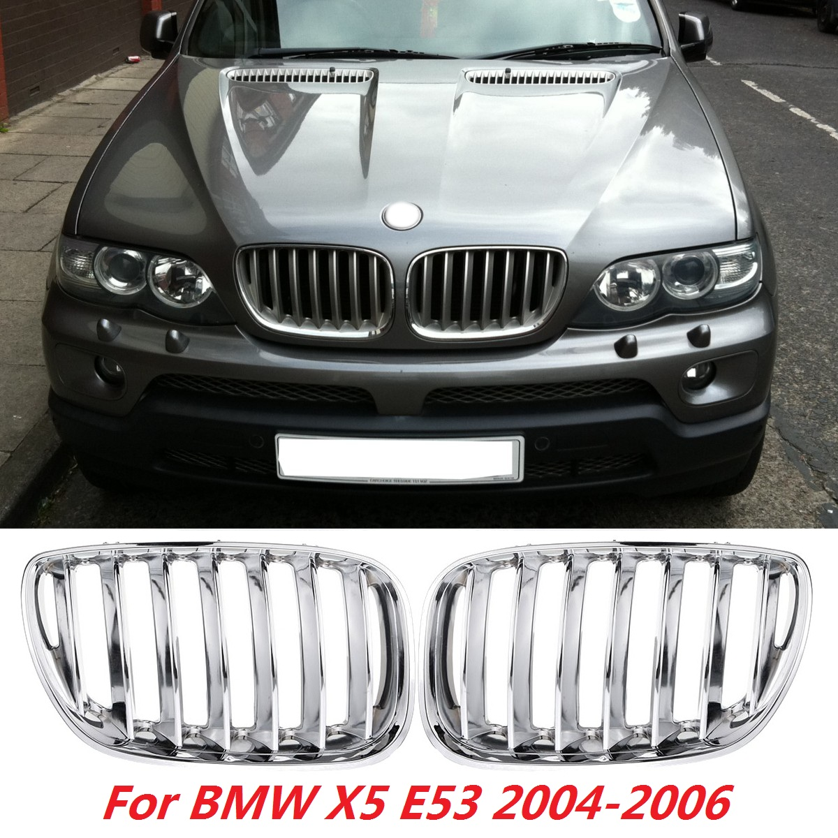 FOR BMW X5 SERIES E53 1999-2003 NEW FRONT KIDNEY GRILLE MATTE BLACK PAIR SET